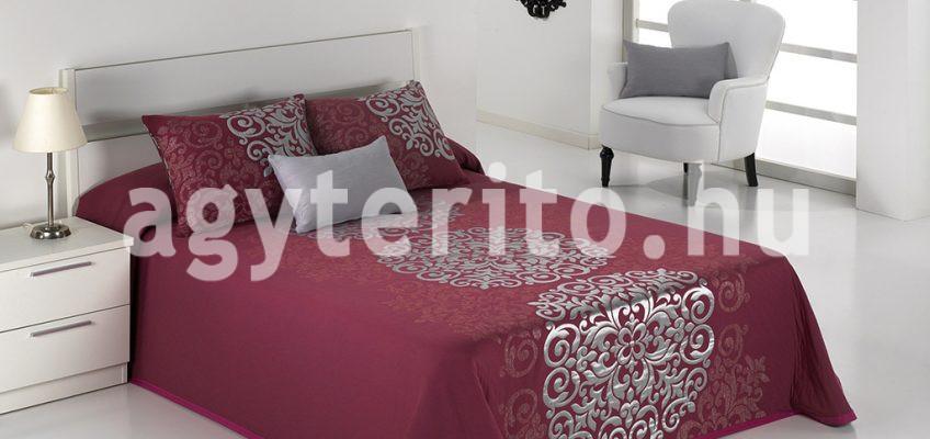 PRESLEY bordó ágytakaró ezüst mintával