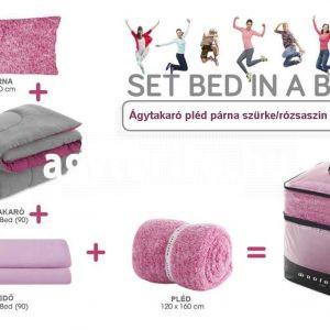 Ágytakaró pléd párna szürke/rózsaszín készlet tartalma