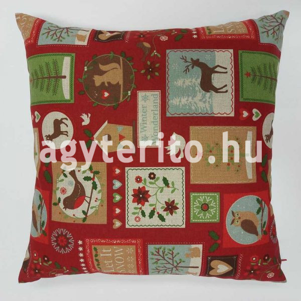 Karácsonyi bélyegek bordó díszpárna